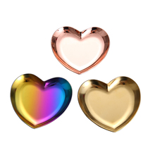 golden plated Stainless Steel Heart-Shaped Jewelry Tray Dish Cute Creative Mini Ring Necklace Display <strong>Plate</strong>