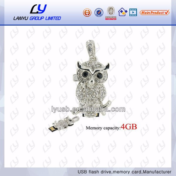 popular style jewelry usb stick owl hsape usb flash drive usb pen drive souvenir
