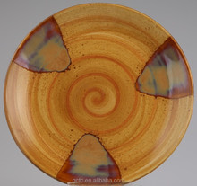 Ceramic dinner plate with wood grain design