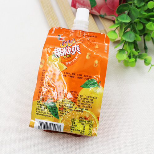 Small mini squeeze disposable drinking stand up pouch with straw