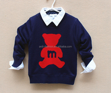 2016 navy blue gray funny kids bear pattern knitting clothes
