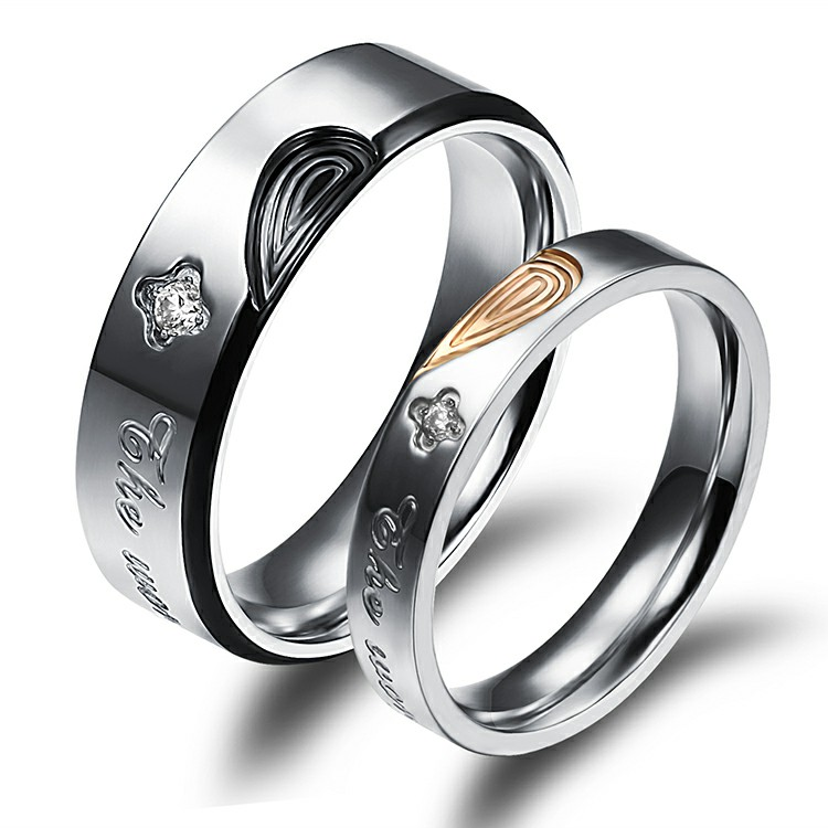Marlary Personalized Design Lover Meaningful Wedding Ring Set Free Sample Stainless Steel Engagement Rings