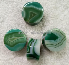 Natural stone stripe agate plugs organic body piercing jewelry for wholesale