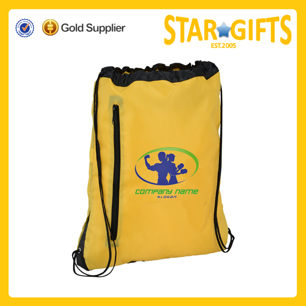 eco friendly colored cheap polyester logo printable drawstring sports bag