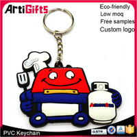 Hot sale 1 side 3d rubber keychain