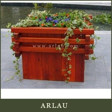 Arlau rustic elevated planter,big wooden flower planter,big round wooden flower planter with hoop iron