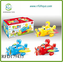 Lovely children cartoon b/o plane toys with music and light plastic b/o airplane