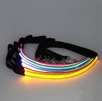 Wholesale Flashing LED Lighted Leash Dog Lead Luminous Traction Rope Drawstring Pet Leash