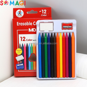 New design 12 packs custom kid wax crayons non-toxic safety stationery items silky crayon for school for students