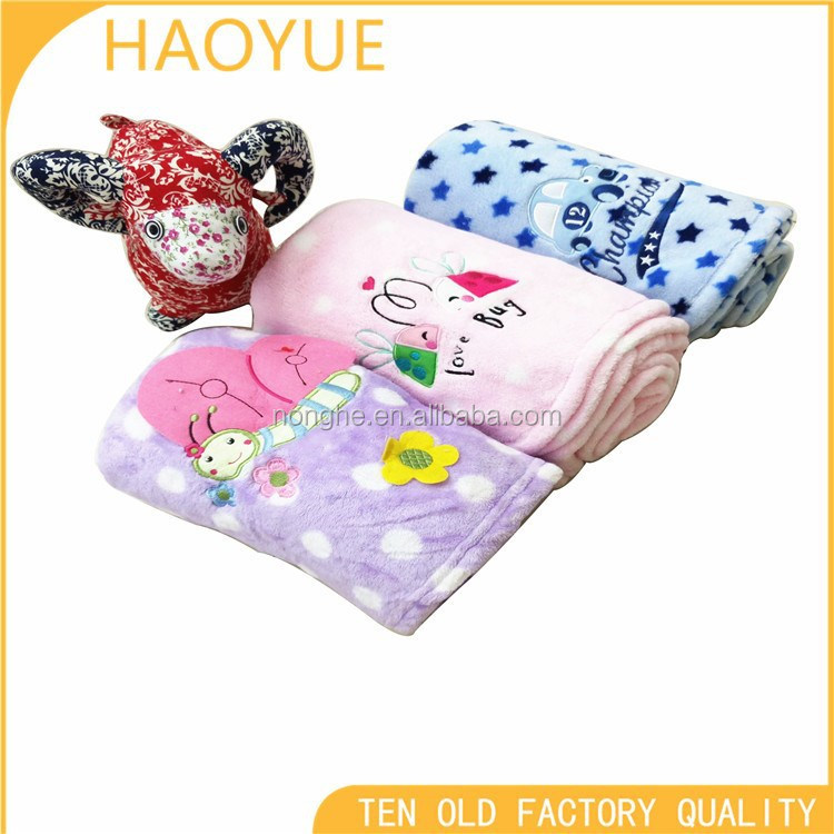 baby brand and 100% polyester printed single side light blanket for baby