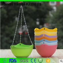 Home Garden Plastic Flower Pot Hanging Planter With Iron Chain