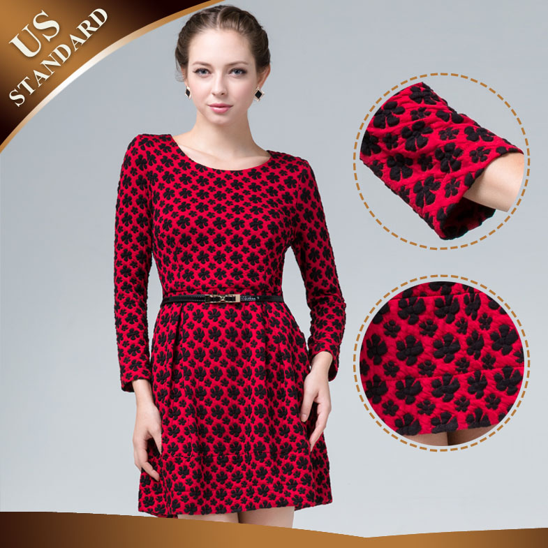 2014 Spring,Summer and Autumn New Arrival,OL High-end Jacquard,Long Sleeve,Red and Blue,One-piece Dress,A-Design Show Thin