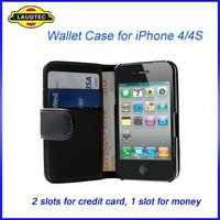Hot sale,Black Color Wallet Leather Case for iPhone 4/4s,Fast delivery----Laudtec