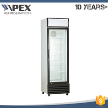 Single glass door upright beverage display cooler for import China goods