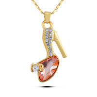 N219 Crystal High Heeled Shoes Necklace