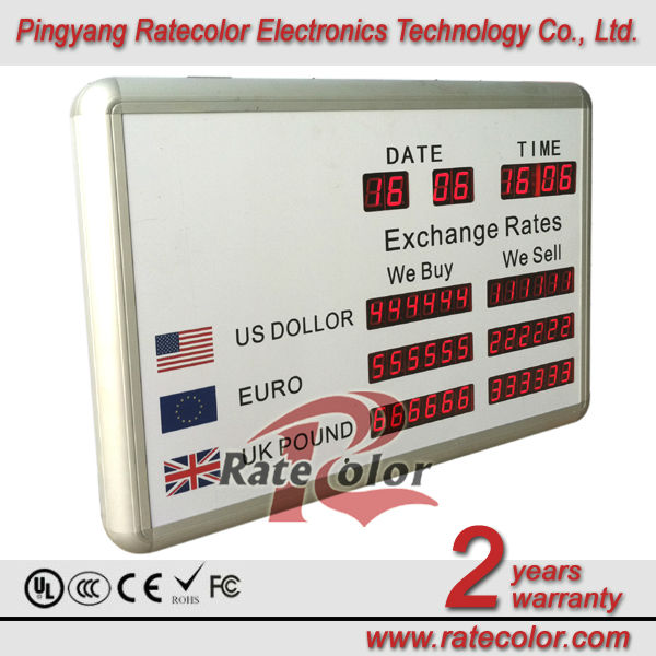 led digital foreign exchange rate display/led foreign bank currency panel board indoor/foreign currency exchange led display