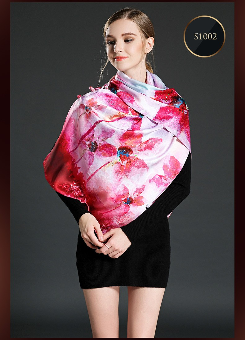 Double-Sided High Quality Long Silk Scarves with Button