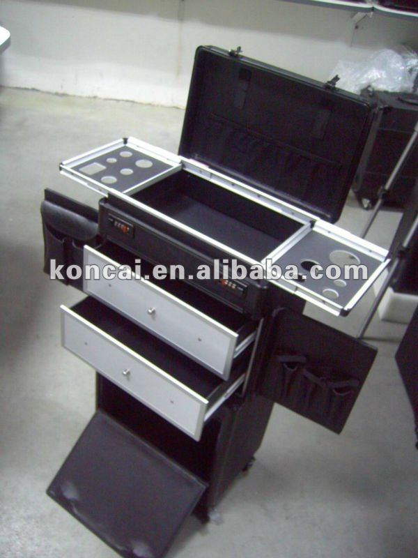 Aluminum Hair Scissors Organizer Box with Trolley and Plastic Drawers