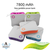 Colorful plastic restaurant portable power bank 7800mah portable mobile charger