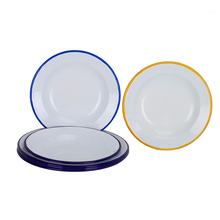 High quality color customs enamel tableware home use 20cm stainless steel <strong>plates</strong> with colorful rim