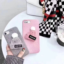 High quality soft cute fur phone cover for R9s, cute short plush floss phone case for iPhone 7 with knit exquisite hat