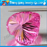 Heart Shape Synthetic Gemstone Millenium Cut Pink Gems