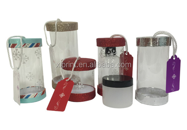 colorful glitter lid transparent cylinder tube box with pvc body for christmas gift tea candy