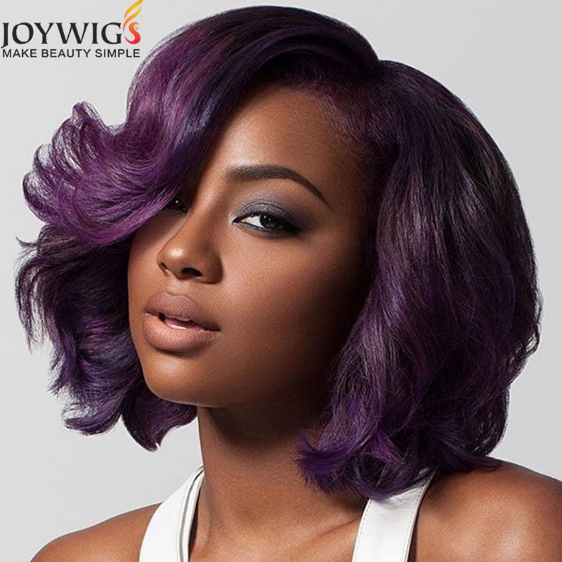 Fashion Bob Style Human Hair Weave Purple Remy Hair Short Bob Lace