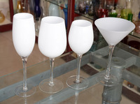 White colored wine glass/champagne glass/Martini Glass with clear stem