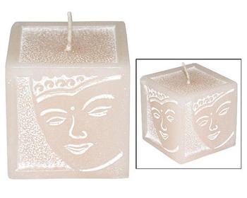 CANDLE CUBE BUDDHA FACE IVORY WHITE WASH