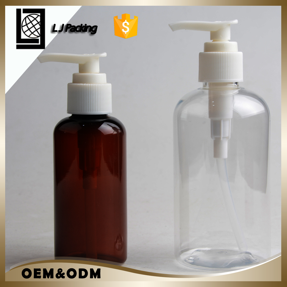 New round 250ml clear amber pet plastic pump bottle for hand washing cosmetic