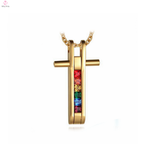 Rainbow color cross shape making charges for gold jewellery light weight gold necklace set for couples