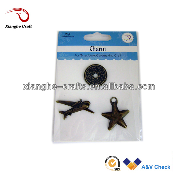 New arrival alloy bronze airplane star pendant charms for fashion jewelry