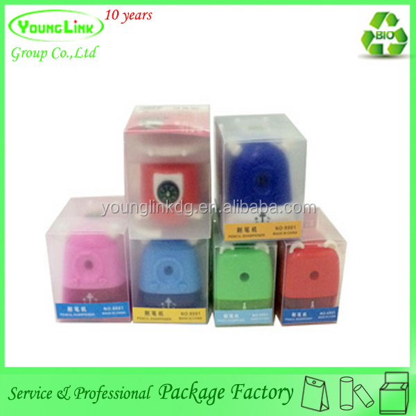 Transparent plastic stationery box for pencil sharpener