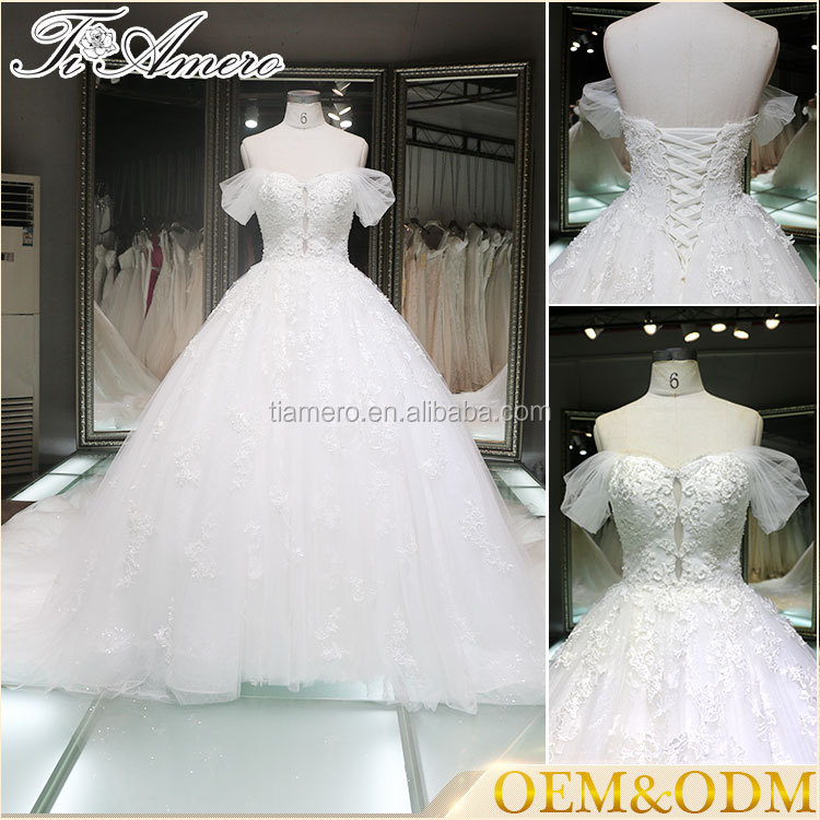 Embroidered evening ball gown satin wedding dress China guangzhou factory Movie Princess Flower wedding dresses