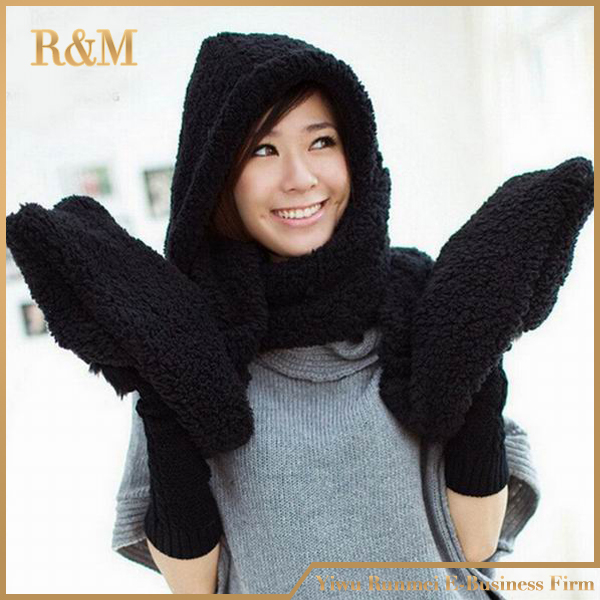 2017 Hot Fashion New Women Winter Warm Soft Plush Faux Fur Hooded Cap Hat Scarves Hood Pocket Gloves Scarf