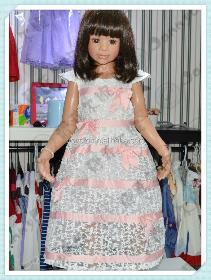 JannyBB white lace red ribbon modern children latest princess dress style