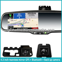 GPS 4.3 rear view touch monitor mirror screen GPS navigation bluetooth game Win ce 6.0 bluetooth mirror with gps reversing camer
