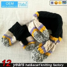 Great quality womens hat glove scarf colorful Hat Scarf Gloves Set (can be customized)