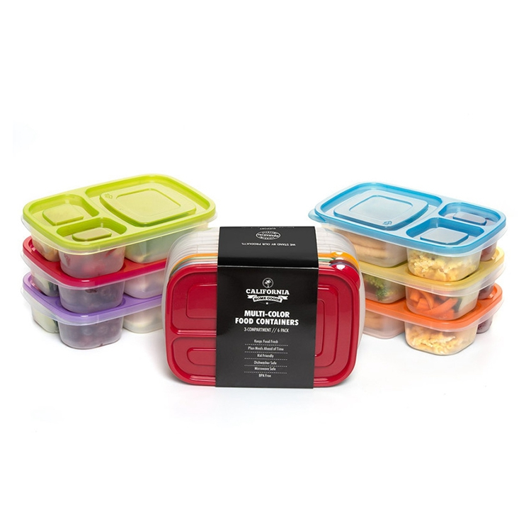 6 Pack Eco Friendly 3-Compartment Bento Lunch Box Containers