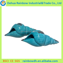 Non season decoration blue ceramic sea snail shell