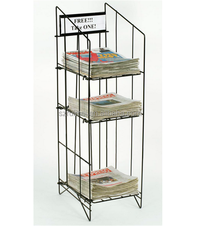 Black 3 Tiers Used Metal Wire Tabloed Newspaper Rack For Sale