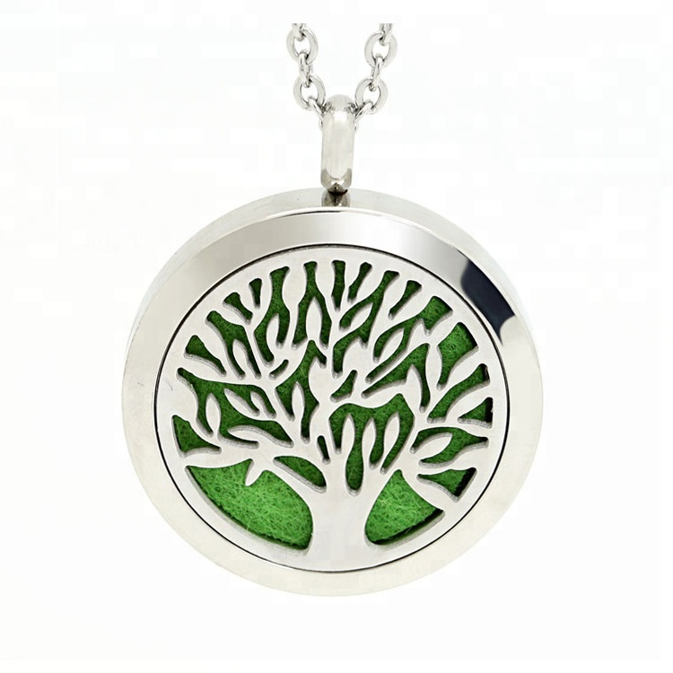 Aroma Perfume Locket Essential Oil Diffuser Jewelry 316L Stainless Steel Aromatherapy Tree Of Life Diffuser Necklace <strong>Pendant</strong>