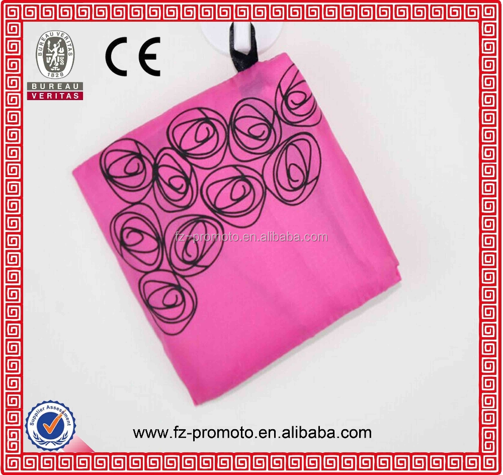 2016 Promotion Custom Pink Polyester reusable Foldable shopping bag,folding bag,fodable bag