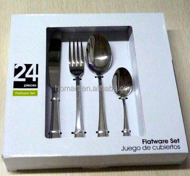 24pcs stainless steel hot sales cutlery set silverware set with color box