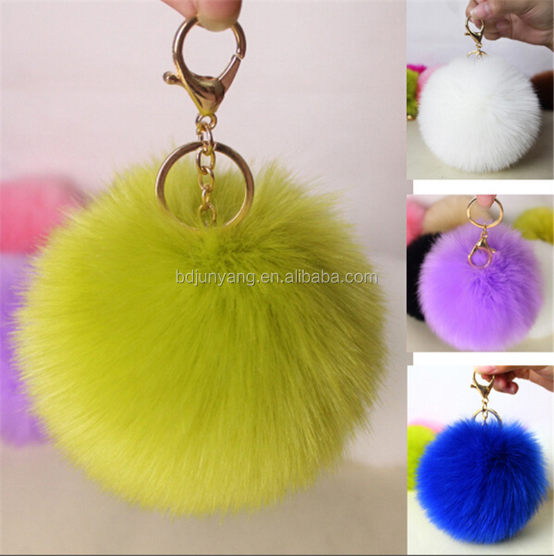 Factory wholesale small faux fur pom pom bag charm 6cm plush mobile phone pendant cherry fur keychain with leaf