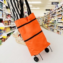 Travel Portable Oxford Folding Shopping Cart Foldable Shopping Trolley Tote Bag