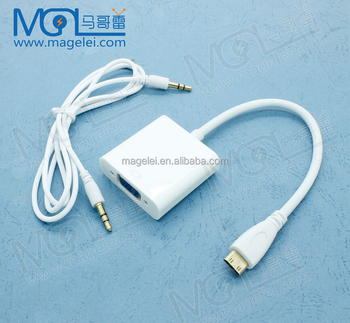 Mini HDMI to VGA Cable Audio 3.5mm Cable HD 1080P vga to hdmi converter Adapter with Audio cable