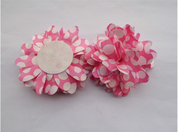 Handmade Chiffon Polka Dot fabric Flowers baby/kids/children girl's fashion garment accessories