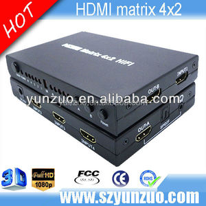 HDMI 1.4 True Matrix 4x2 Switch Splitter HDTV 3D IR / ARC HIFI Support 4K*2K 3D